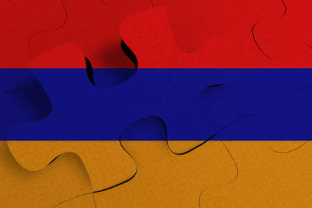 Composition of the concept of crisis and integration of a country    Armenia  FLAG PAINTED ON PUZZLE 3D RENDER
