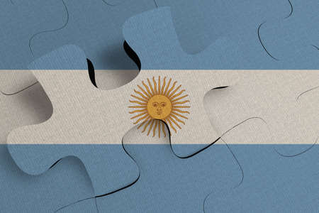 Composition of the concept of crisis and integration of a country   Argentina   FLAG PAINTED ON PUZZLE 3D RENDER