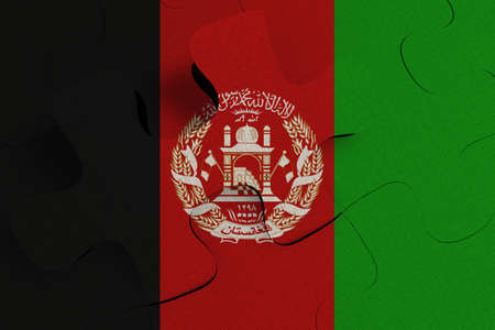 Composition of the concept of crisis and integration of a country   Afghanistan   FLAG PAINTED ON PUZZLE 3D RENDER