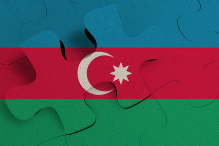 Composition of the concept of crisis and integration of a country   Azerbaijan   FLAG PAINTED ON PUZZLE 3D RENDER