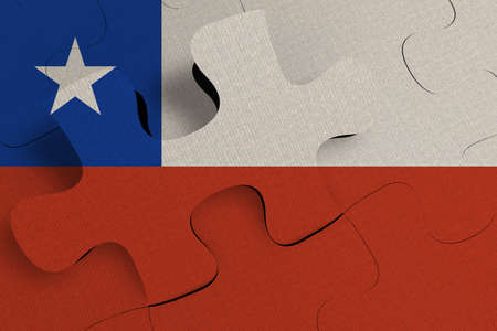 Composition of the concept of crisis and integration of a country   Chile   FLAG PAINTED ON PUZZLE 3D RENDER