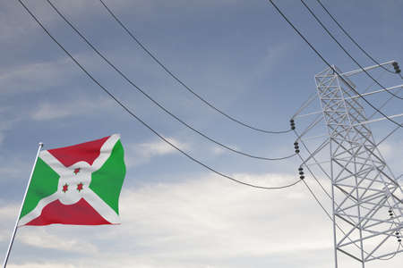 Electricity consumption and production in countries with the flag of Burundi 3D render.