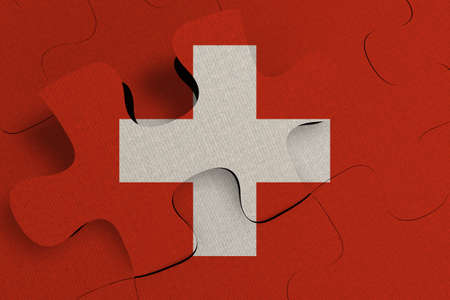 Composition of the concept of crisis and integration of a country   Switzerland   FLAG PAINTED ON PUZZLE 3D RENDER 版權商用圖片