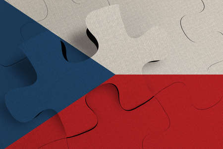 Composition of the concept of crisis and integration of a country   Czechia   FLAG PAINTED ON PUZZLE 3D RENDER 版權商用圖片