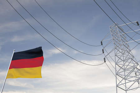 Electricity consumption and production in countries with the flag of Germany 3D render.