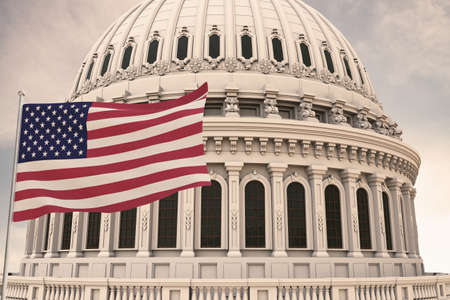 Beautiful flag of the United States of America waving with the strong wind and behind it the dome of the Capitol USA 3D RENDER, 3D RENDERING.