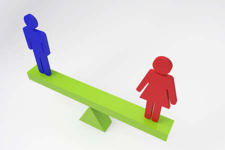 Spectacular concept about EQUALITY GENDERS men and women on 3D RENDER 3d rendering.