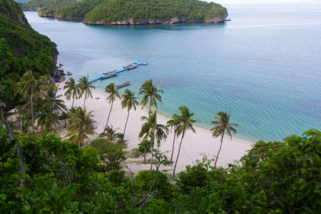 samui: The view from the mountains to the beach and the blue sea Stock Photo