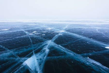 Beautiful ice with cracks on the Lake Baikal. 写真素材