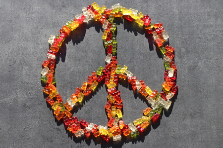 Peace Symbol  Peace Sign made of Colorful Gummy Bears  Gummibears (Sweets)