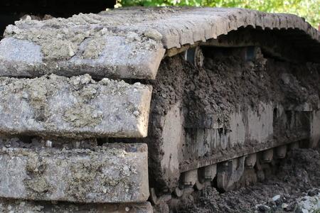 Excavator chain in detail Stock Photo