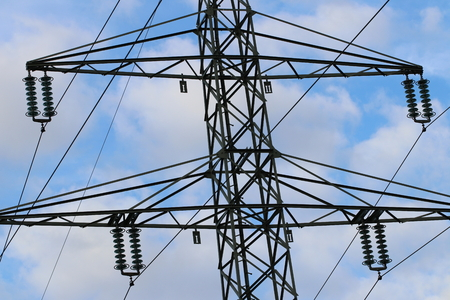 Electricity pylon  power line with blue sky Stock Photo