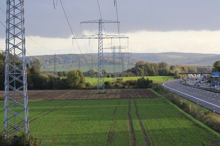 Electricity pylon  power line on the A7 motorway