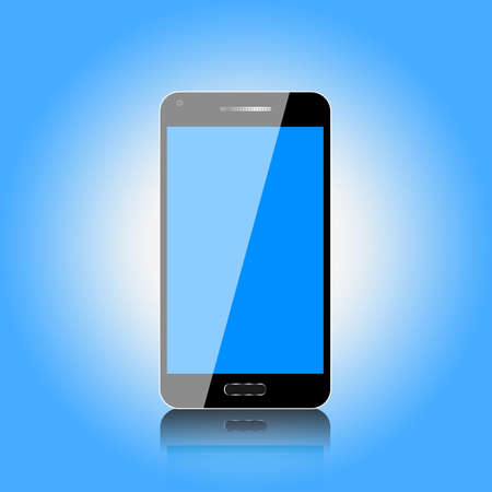 touch screen phone: Black touch screen mobile phone with blue background