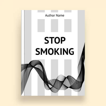 harm: Book title about harm of smoking, grayscale