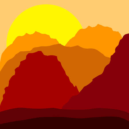 sunrise mountain: Sunset in mountains illustration, orange color scheme