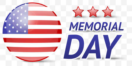 day sign: Transparent Memorial day sign with flag and stars