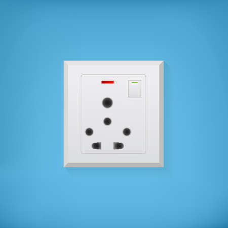 electric socket: White electric socket on a blue background