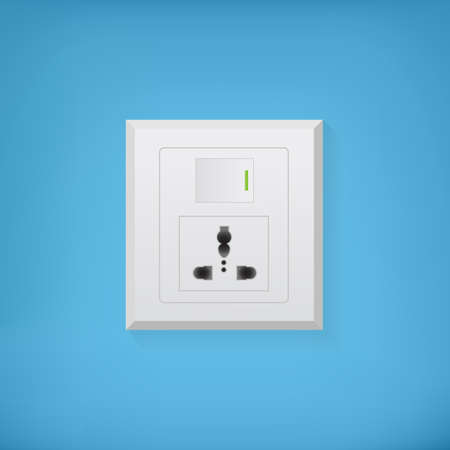 electric socket: White electric socket with button on a blue background