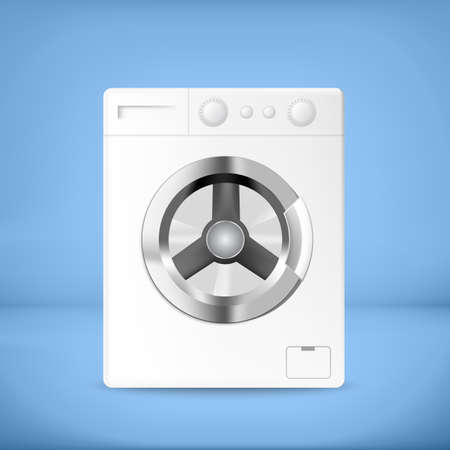 rinse: White washing machine with buttons and blue background