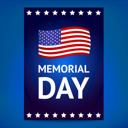 memorial day: Dark blue Memorial day poster with a flag