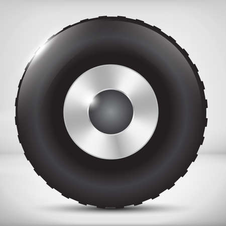 alloy wheel: Black car wheel with metallic disks with light background Illustration