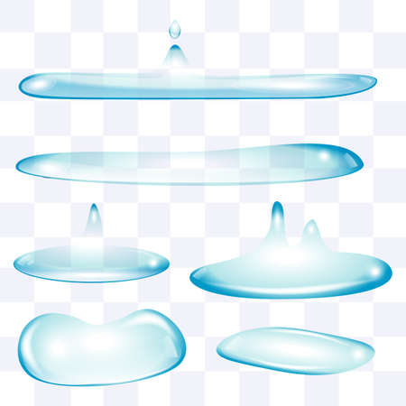 flatten: Blue color transparent flatten water drops set