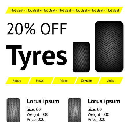 web template: Automobile tyres web site template Illustration