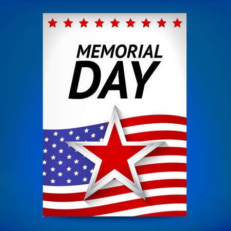 White Memorial day poster with flag and star Illustration
