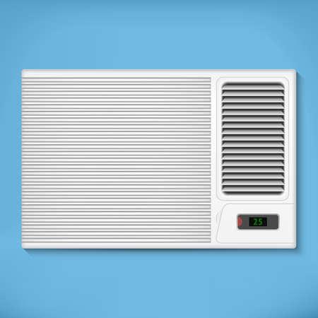 aire acondicionado: Acondicionador de aire en una pared azul