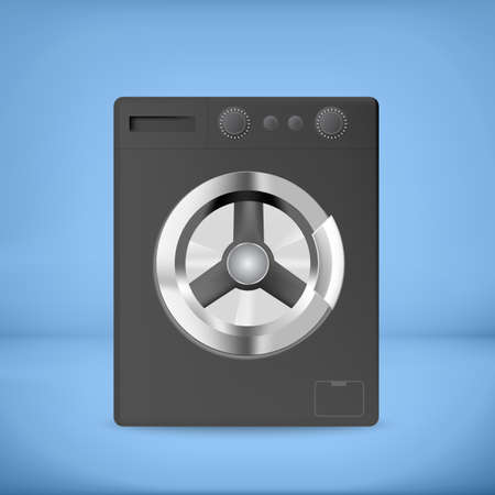 rinse: Black washing machine with blue background