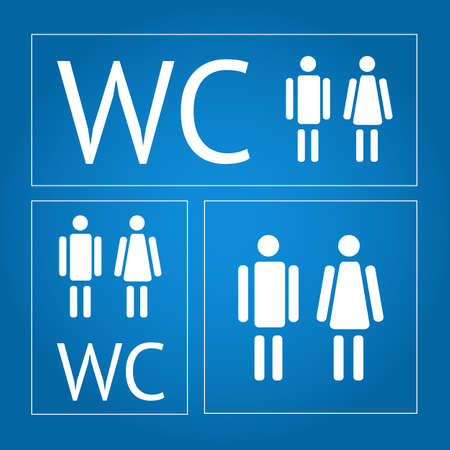 water closet: Water closet signs icon set Illustration