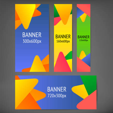 banners web: Horizontal and vertical web banners with multi color backgrounds