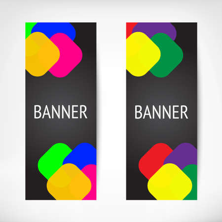 banners web: Vertical black web banners with color insets