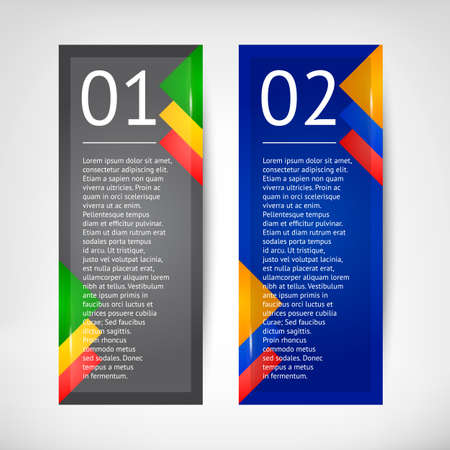 copy paste: Different colors Vector Vertical Banner with color insets