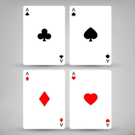 gray backgrounds: Cuatro Ases tarjetas con fondos grises y sombras Vectores