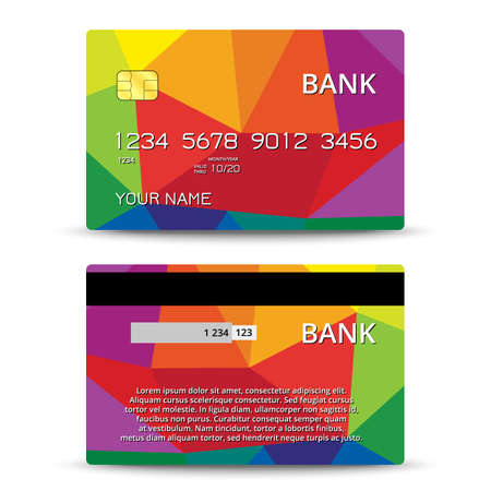 tarjeta de credito: Plantillas de tarjetas de crédito de diseño con un fondo polígono, vector aislada Vectores