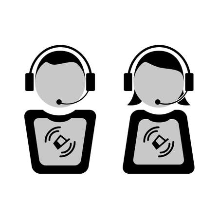 illustrazione uomo: Customers support vector illustration. man and woman with microphone