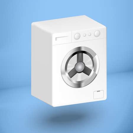launder: 3d white washing mashine on a blue background