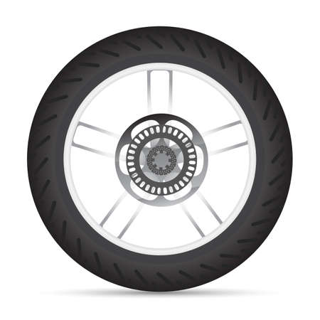 bicycle wheel: Motorbike wheel. Detailed wheel for motorbike.  In vector