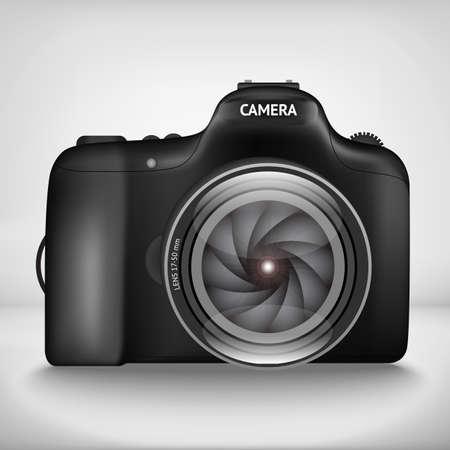 multiple exposure: Black vector illustration of camera with lens Illustration