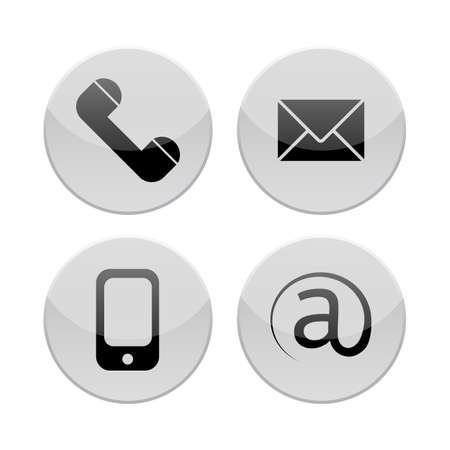 email contact: Contact icons set. E-mail, phone, mobile, letter Illustration