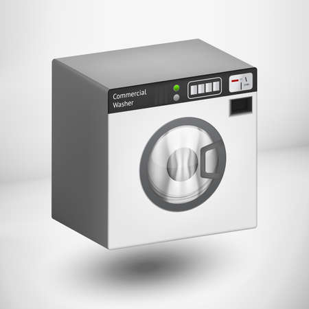 launder: commertial 3d white washing mashine with shadow