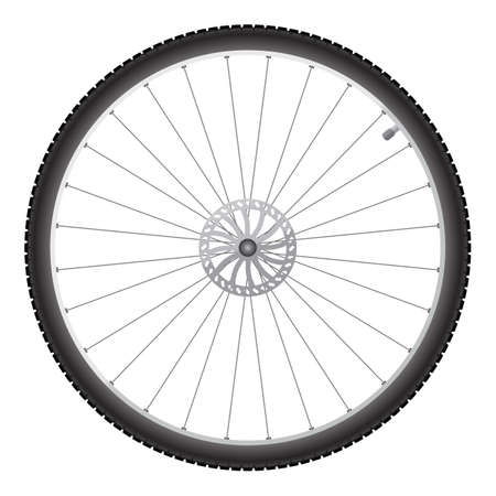 Black bicycle wheel on a white background