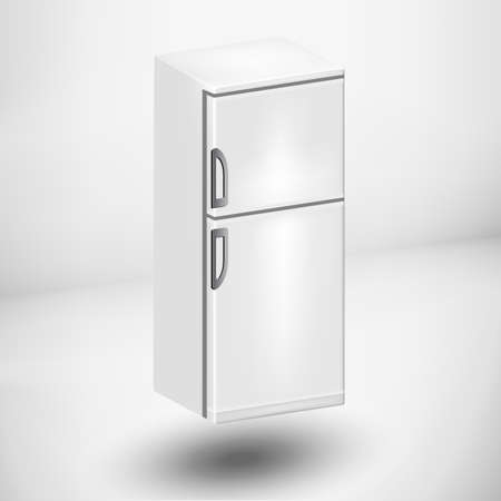 frig: White 3d Refrigerator on a white background