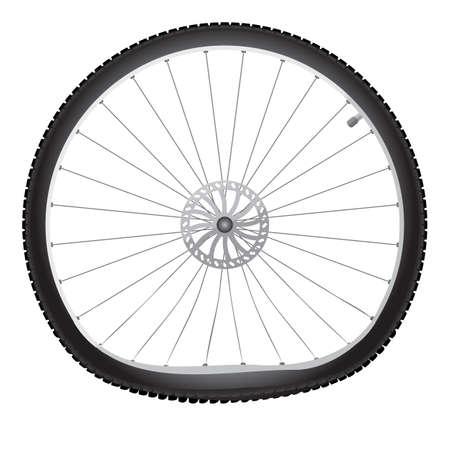 Vector broken bicycle wheel on white background Stock Photo