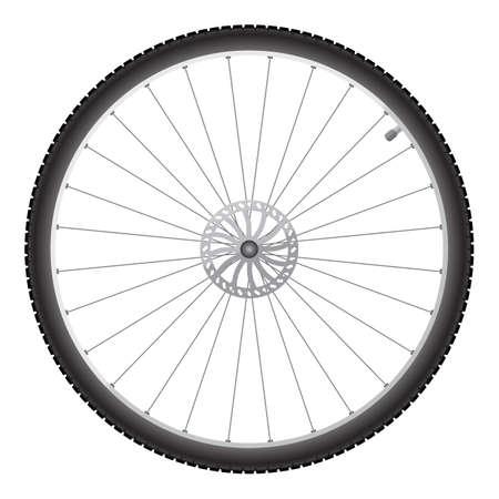 Roue de bicyclette noire sur un fond blanc