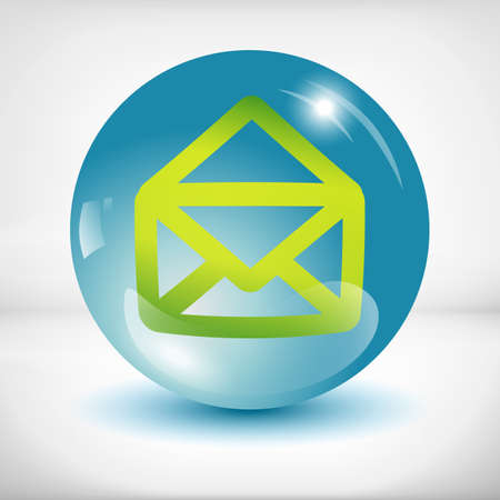 arobase: White mail icon in the orange glass sphere