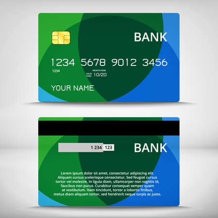 Templates of credit cards design with ellipsoids background, Isolated vector