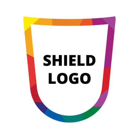 security symbol: Internet security flat vector logo. Simple shield symbol and sample text Illustration